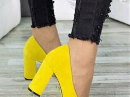 Туфли на каблуке лимон замша 7283-28