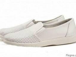 Туфли рабочие белые кожаные