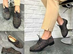 Туфли женские кожаные черные с красным в клетку классические