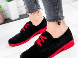 Туфли женские Wings черный + красные 1803 замша