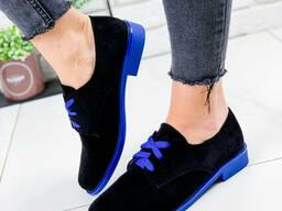 Туфли женские Wings черный + синий 1804 замша