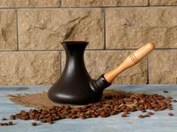 Турка Аладин керамическая с деревянной ручкой 300 мл + рассекатель