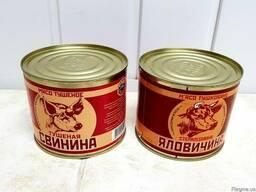 Тушенка говяжья, свиная высшего сорта, ж/б,525 грамм
