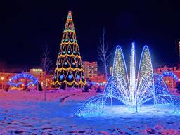 Украшение гирляндами киев, купить новогоднюю гирлянду киев иллюминация, конструкции