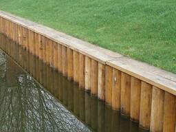 Укрепление берега водоёма дубом, шпунтом ПВХ, бетоном