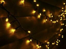 """Уличная Cветодиодная гирлянда Нить """"String"""" 10 метров Желтая, 100 LED черный провод. .."""