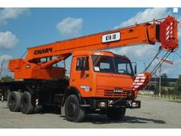Услуги автокрана КТА-28 камаз 25 тонн аренда техники силач