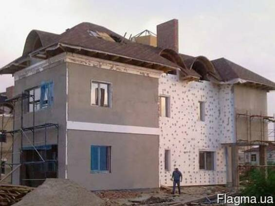 Утепление фасадов, домов с лесов, Киев. Короед, Барашек.