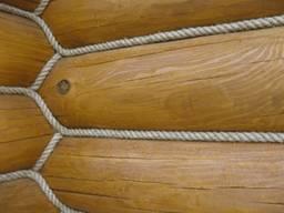 Утепление сруба канатом, декоративной верёвкой, Выполн