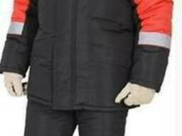 Утепленный рабочий костюм черно-красный