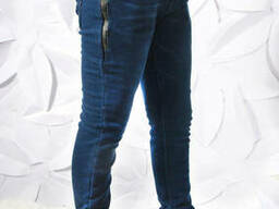 Утеплённые подростковые джинсы на флисе для мальчика темно-синего цвета 158