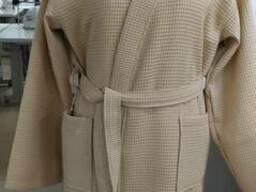 Вафельный бежевый халат кимоно