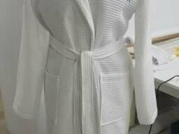Вафельный халат, белый, унисекс, отшив под размеры