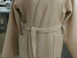 Вафельный халат, беж, комоно, именной, унисекс