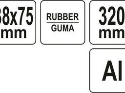 Валик притискний гумовий YATO : Ø38 x 75 мм, алюмінієва ручка L= 320 мм