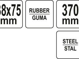 Валик притискний гумовий YATO : Ø38 x 75 мм, сталева ручка L= 370 мм