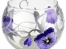 Ваза стеклянная ручной работы Фиолетовые цветы (Шарик. ..