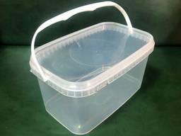 Ведро пищевое 3.3 л прямоугольное прозрачное пластиковое