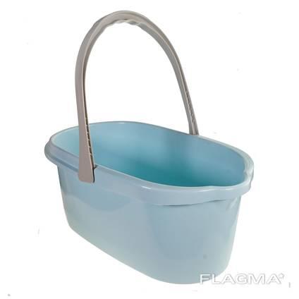 Ведро для уборки пластиковое 15 л. (голубой, бежевый)