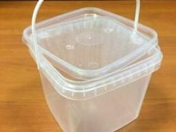 Ведро пищевое квадратное 1л пластиковое с крышкой