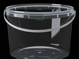 Ведро пластиковое прозрачное с крышкой 2л