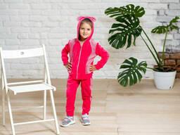 Велюровый спортивный костюм с ушками для девочки кораллового цвета 6-8 лет