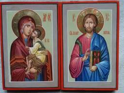 Венчальная пара икон Богородицы и Иисуса Христа. Иконы венчальные.