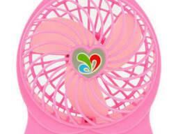 Вентилятор настольный Dellta DR-1501 с аккумулятором Pink. ..