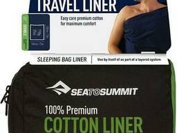 Вкладиш в спальник Sea To Summit Premium Cotton Travel Liner Double Rectangular Navy. ..