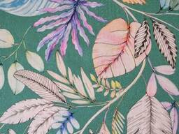 Вологостійка скатертина з акриловим покриттям Simfoni 136х220см Листя на зеленом. ..