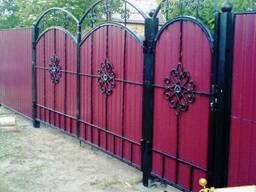 Ворота из профнастила с элементами ковки - фото 3