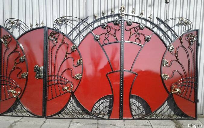 Ворота кованные с элементами художественной ковки под ключ
