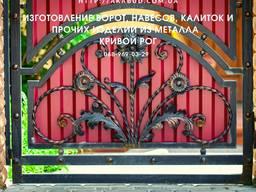 Ворота распашные с ковкой. Кованые козырьки и навесы от производителя