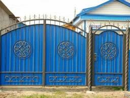 Ворота с калиткой из профлиста - фото 4