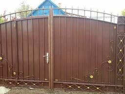 Ворота с калиткой из профлиста - фото 7
