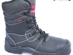 Высокие кожаные утепленные ботинки