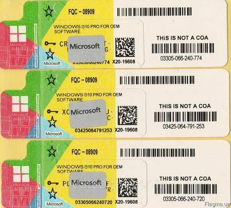 Windows 10 Pro Oem Наклейка COA. x64-x86