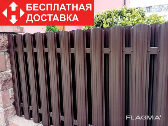 Забор из металлических штакет, евроштакетник, еврозабор