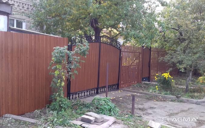 Забор из профнастила, метало штакета, ворота, калитки