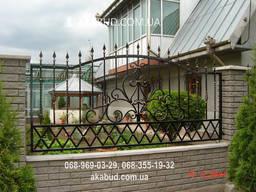 Забор с элементами ковки F1