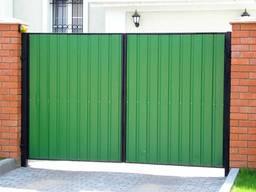 Забор, ворота, калитка, из профлиста, навес