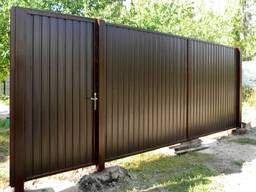 Забор, ворота, калитка, из профлиста, навес - фото 2
