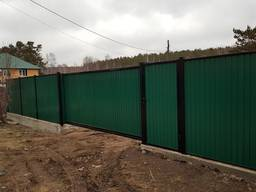 Забор, ворота, калитка, из профлиста, навес - фото 7