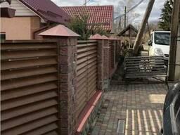 Забор жалюзи металлический острый и полукруглый двухсторонни