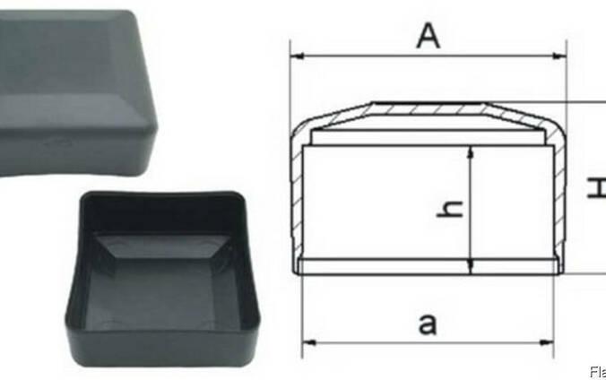 Заглушка пластикова квадратна зовнішня плоска для труб