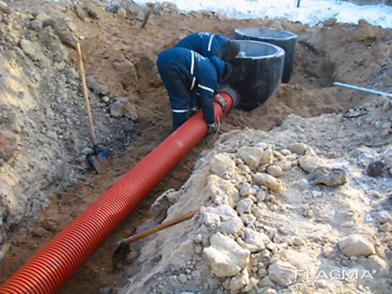Установка выгребных, сливные ямы копка канализации, септика