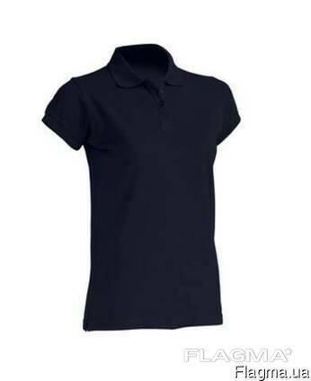 Женская футболка-поло темно-синего цвета