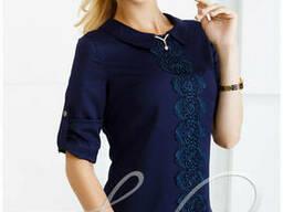 Женская нарядная блуза из креп шифона Lipar Синяя
