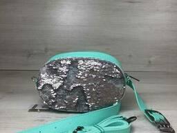 Женская сумка на пояс- клатч WeLassie мятного цвета. ..