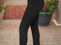 Женские классические зауженые брюки черного цвета с завышено